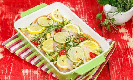 Citromos-rozmaringos, zöldségekkel sült csirke