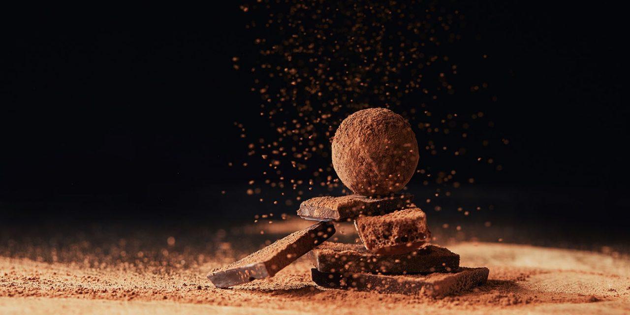 Dióval töltött csokoládé trüffel
